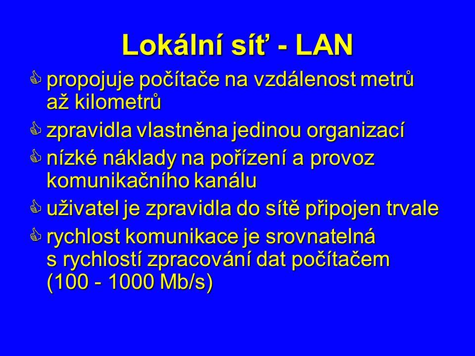 Lokální síť - LAN  propojuje počítače na vzdálenost metrů až kilometrů  zpravidla vlastněna jedinou organizací  nízké náklady na pořízení a provoz komunikačního kanálu  uživatel je zpravidla do sítě připojen trvale  rychlost komunikace je srovnatelná s rychlostí zpracování dat počítačem (100 - 1000 Mb/s)