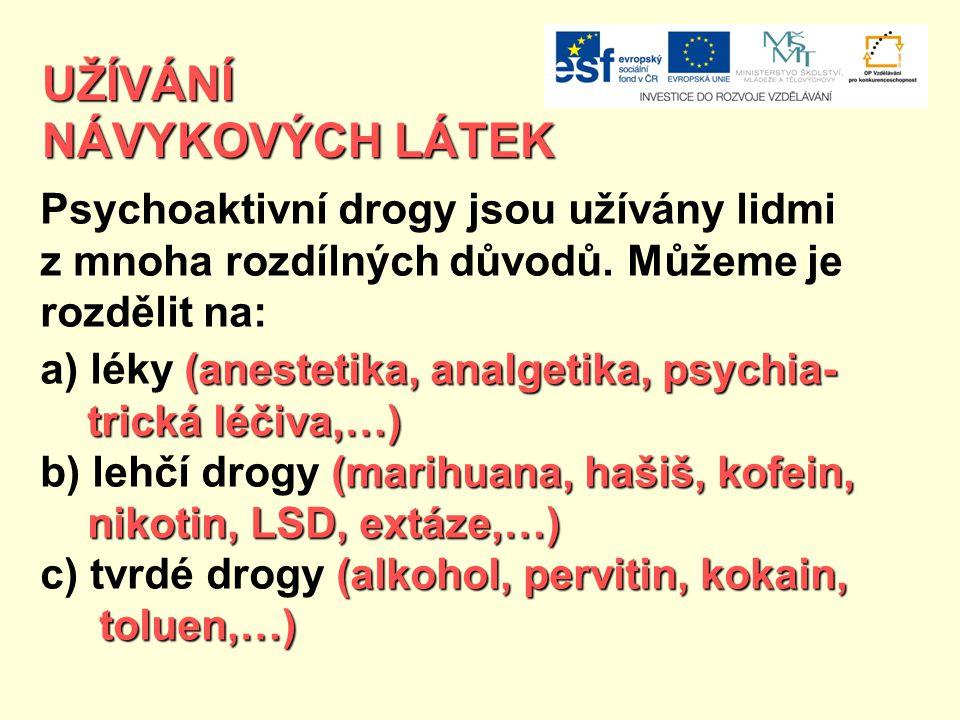 UŽÍVÁNÍ NÁVYKOVÝCH LÁTEK Psychoaktivní drogy jsou užívány lidmi z mnoha rozdílných důvodů. Můžeme je rozdělit na: (anestetika, analgetika, psychia- a)