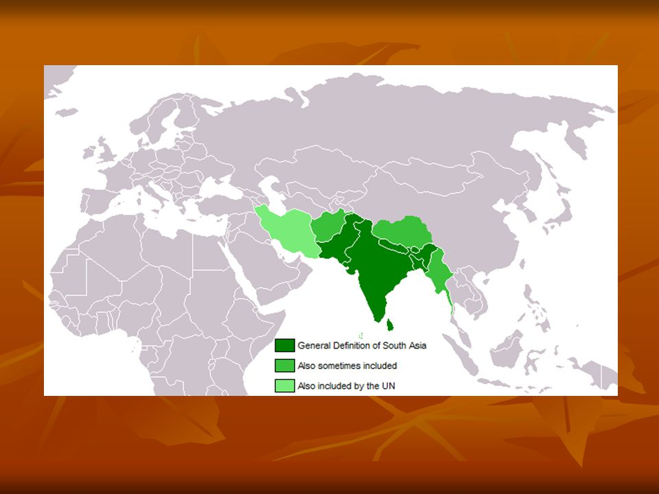 Podnebí – tropické, závislost na nadmořské výšce, ovlivněno monzuny Podnebí – tropické, závislost na nadmořské výšce, ovlivněno monzuny Vodstvo – řeky pramení v horách (v období monzunů – povodně), rozdíl mezi V a Z Vodstvo – řeky pramení v horách (v období monzunů – povodně), rozdíl mezi V a Z Obyvatelstvo – dávné osídlení, koloniální velmoc především Britů (britská Indie) Obyvatelstvo – dávné osídlení, koloniální velmoc především Britů (britská Indie) - velké množství jazyků - velké množství jazyků - různá náboženství (hinduismus, islám, buddhismus) - různá náboženství (hinduismus, islám, buddhismus) - rychle rostoucí počet obyvatel (Indie – slumy) - rychle rostoucí počet obyvatel (Indie – slumy) - problém podvýživy - problém podvýživy Zemědělství – rýže, čajovník, cukrová třtina, ovoce, zelenina Zemědělství – rýže, čajovník, cukrová třtina, ovoce, zelenina