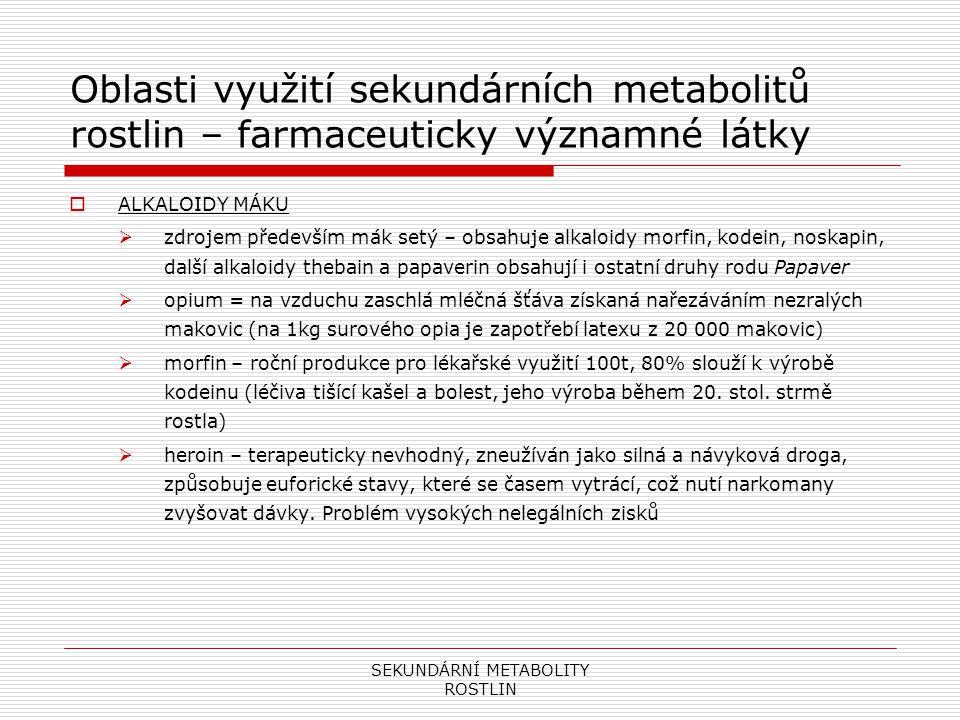 SEKUNDÁRNÍ METABOLITY ROSTLIN Oblasti využití sekundárních metabolitů rostlin – farmaceuticky významné látky  ALKALOIDY MÁKU  zdrojem především mák