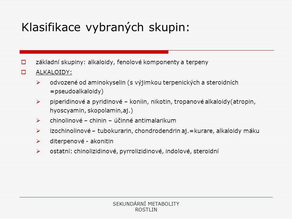 SEKUNDÁRNÍ METABOLITY ROSTLIN Klasifikace vybraných skupin:  základní skupiny: alkaloidy, fenolové komponenty a terpeny  ALKALOIDY:  odvozené od am