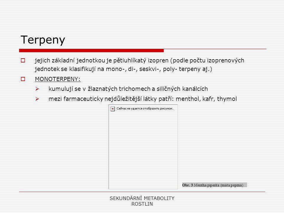 SEKUNDÁRNÍ METABOLITY ROSTLIN Terpeny  jejich základní jednotkou je pětiuhlíkatý izopren (podle počtu izoprenových jednotek se klasifikují na mono-,