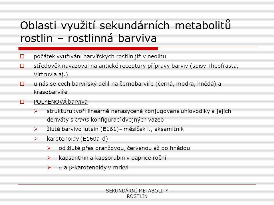 SEKUNDÁRNÍ METABOLITY ROSTLIN Oblasti využití sekundárních metabolitů rostlin – rostlinná barviva  bixin, norbixin – zdroj trop.
