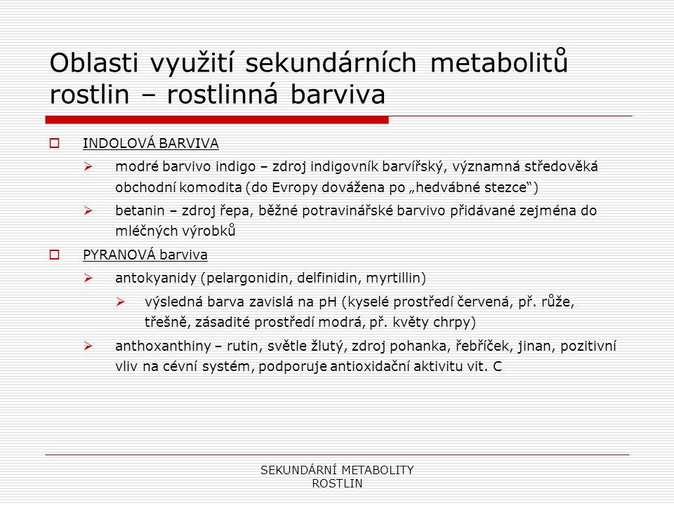 SEKUNDÁRNÍ METABOLITY ROSTLIN Oblasti využití sekundárních metabolitů rostlin – rostlinná barviva  INDOLOVÁ BARVIVA  modré barvivo indigo – zdroj in