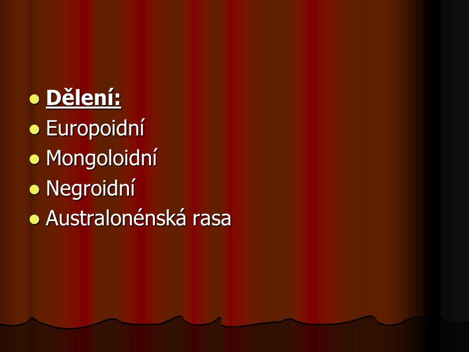 Dělení: Dělení: Europoidní Europoidní Mongoloidní Mongoloidní Negroidní Negroidní Australonénská rasa Australonénská rasa