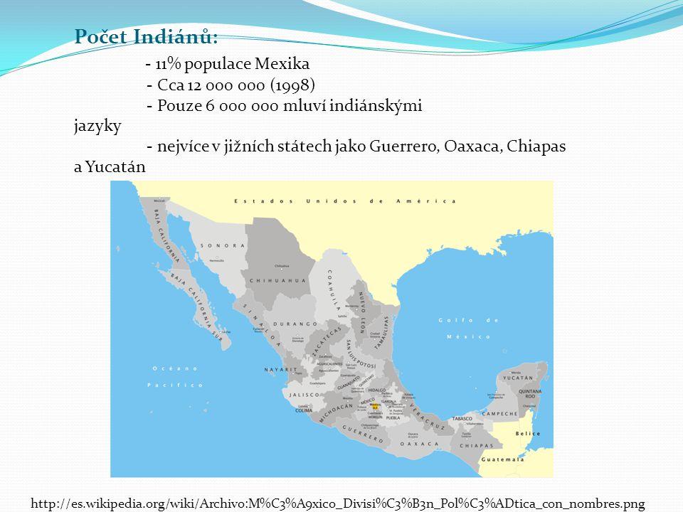 Počet Indiánů: - 11% populace Mexika - Cca 12 000 000 (1998) - Pouze 6 000 000 mluví indiánskými jazyky - nejvíce v jižních státech jako Guerrero, Oax