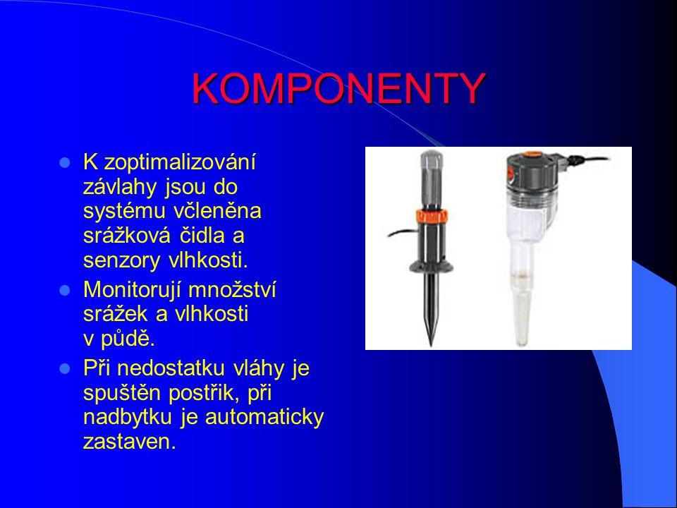 KOMPONENTY K zoptimalizování závlahy jsou do systému včleněna srážková čidla a senzory vlhkosti.
