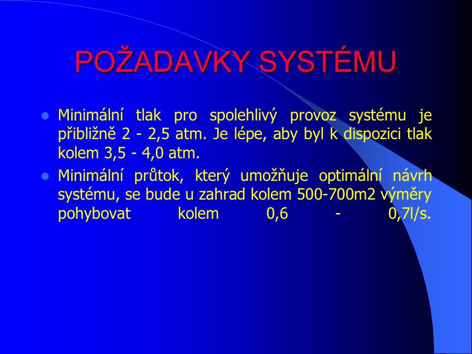 POŽADAVKY SYSTÉMU Minimální tlak pro spolehlivý provoz systému je přibližně 2 - 2,5 atm.
