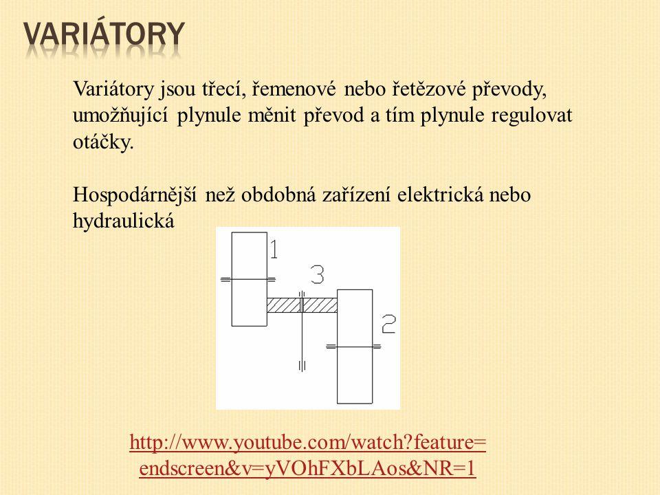 Variátory jsou třecí, řemenové nebo řetězové převody, umožňující plynule měnit převod a tím plynule regulovat otáčky.