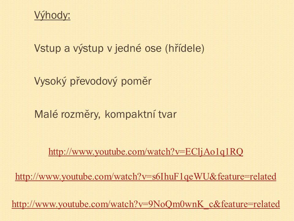 Výhody: Vstup a výstup v jedné ose (hřídele) Vysoký převodový poměr Malé rozměry, kompaktní tvar http://www.youtube.com/watch?v=ECljAo1q1RQ http://www.youtube.com/watch?v=s6IhuF1qeWU&feature=related http://www.youtube.com/watch?v=9NoQm0wnK_c&feature=related
