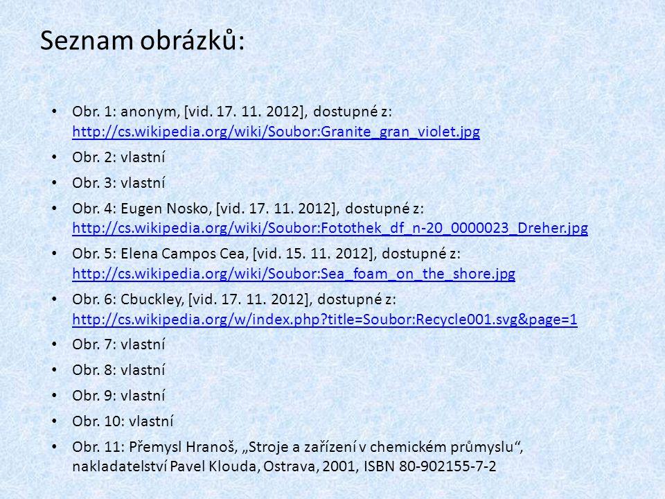 Seznam obrázků: Obr. 1: anonym, [vid. 17. 11. 2012], dostupné z: http://cs.wikipedia.org/wiki/Soubor:Granite_gran_violet.jpg http://cs.wikipedia.org/w