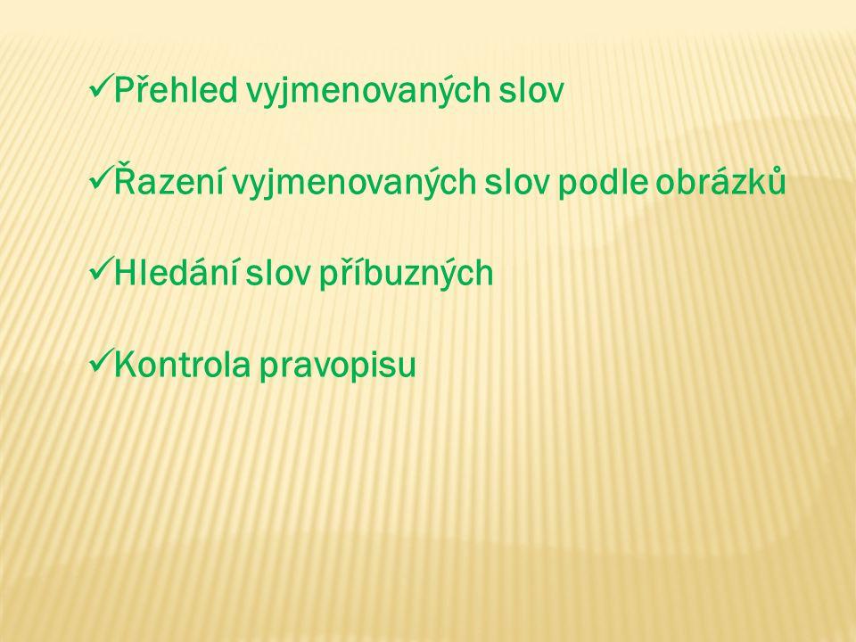 Přehled vyjmenovaných slov Řazení vyjmenovaných slov podle obrázků Hledání slov příbuzných Kontrola pravopisu