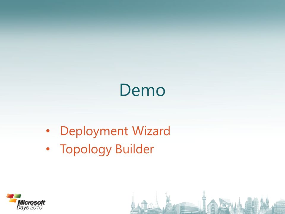 Demo Deployment Wizard Topology Builder