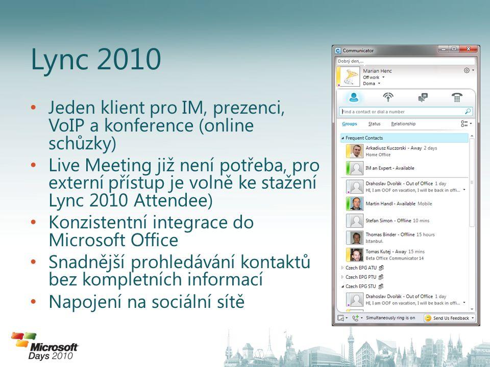 Jeden klient pro IM, prezenci, VoIP a konference (online schůzky) Live Meeting již není potřeba, pro externí přístup je volně ke stažení Lync 2010 Att
