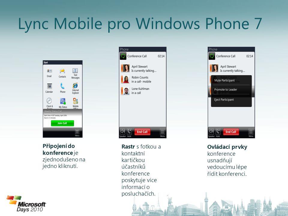 Lync Mobile pro Windows Phone 7 Připojení do konference je zjednodušeno na jedno kliknutí. Rastr s fotkou a kontaktní kartičkou účastníků konference p