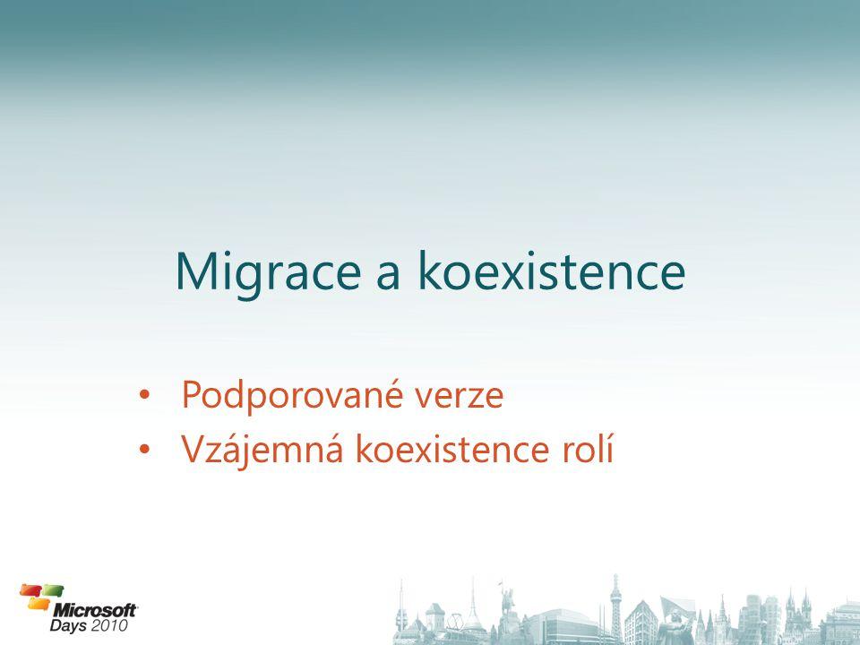 Migrace a koexistence Podporované verze Vzájemná koexistence rolí