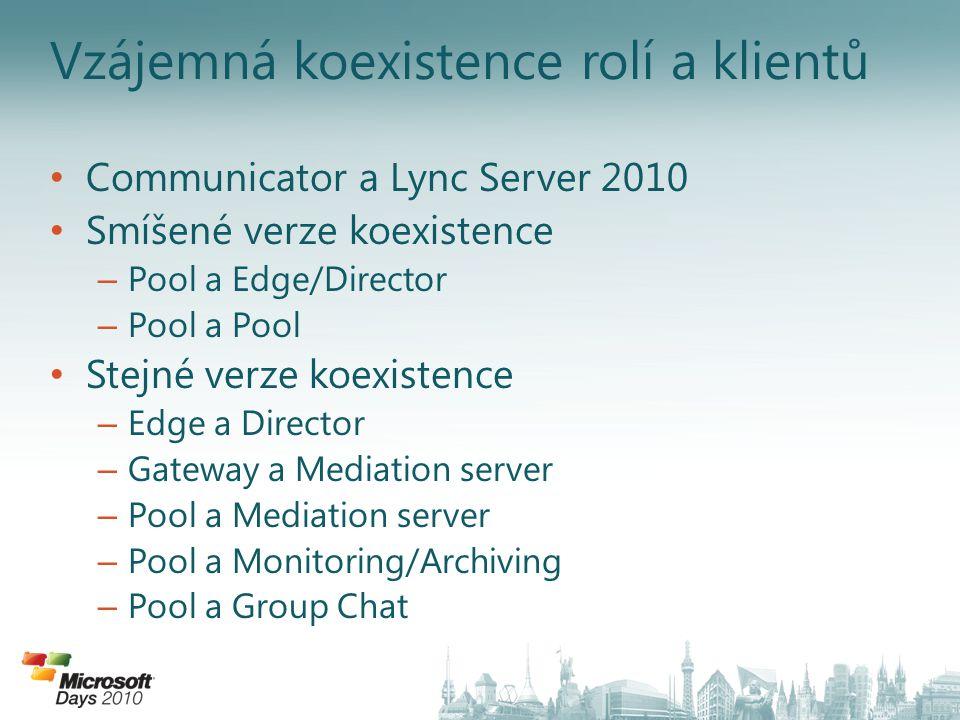 Vzájemná koexistence rolí a klientů Communicator a Lync Server 2010 Smíšené verze koexistence – Pool a Edge/Director – Pool a Pool Stejné verze koexis