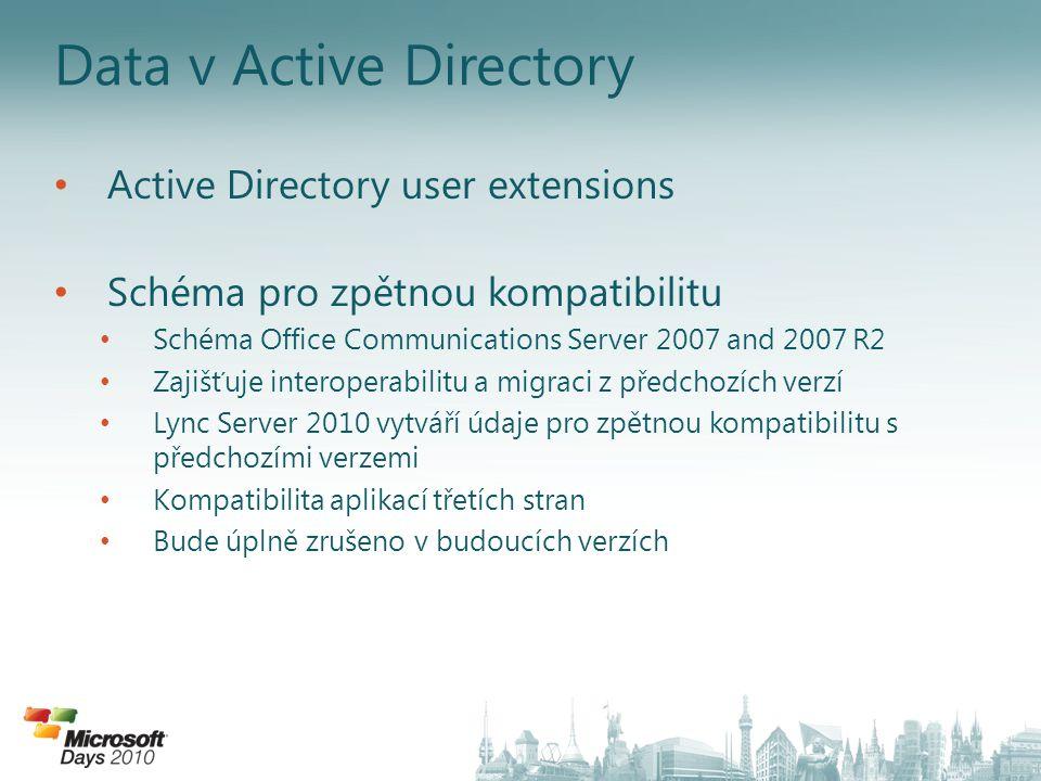 Lync Server Control Panel Webový nástroj, GUI koncipováno podle scénářů správy Založeno na Silverlightu 4 a PowerShellu Zpřístupňuje nejdůležitější funkce a nastavení PowerShellu Možnosti nástroje: – Jednoduchá navigace – Jednoduché prohledávání (dotazy se dají uložit a znovu použít) – Efektivní náhled na politiky – Vestavěná podpora směrování hlasu – Žádné kaskádování stránek nastavení – Podpora přístupu za pomoci rolí – A mnoho dalších….