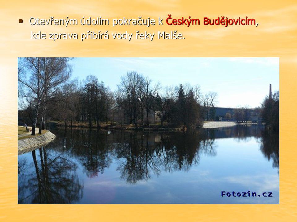 Otevřeným údolím pokračuje k Českým Budějovicím, Otevřeným údolím pokračuje k Českým Budějovicím, kde zprava přibírá vody řeky Malše.