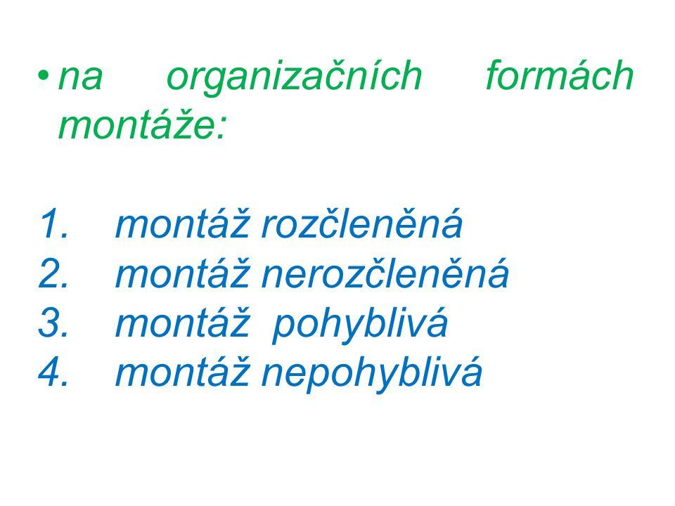 na organizačních formách montáže: 1. montáž rozčleněná 2.