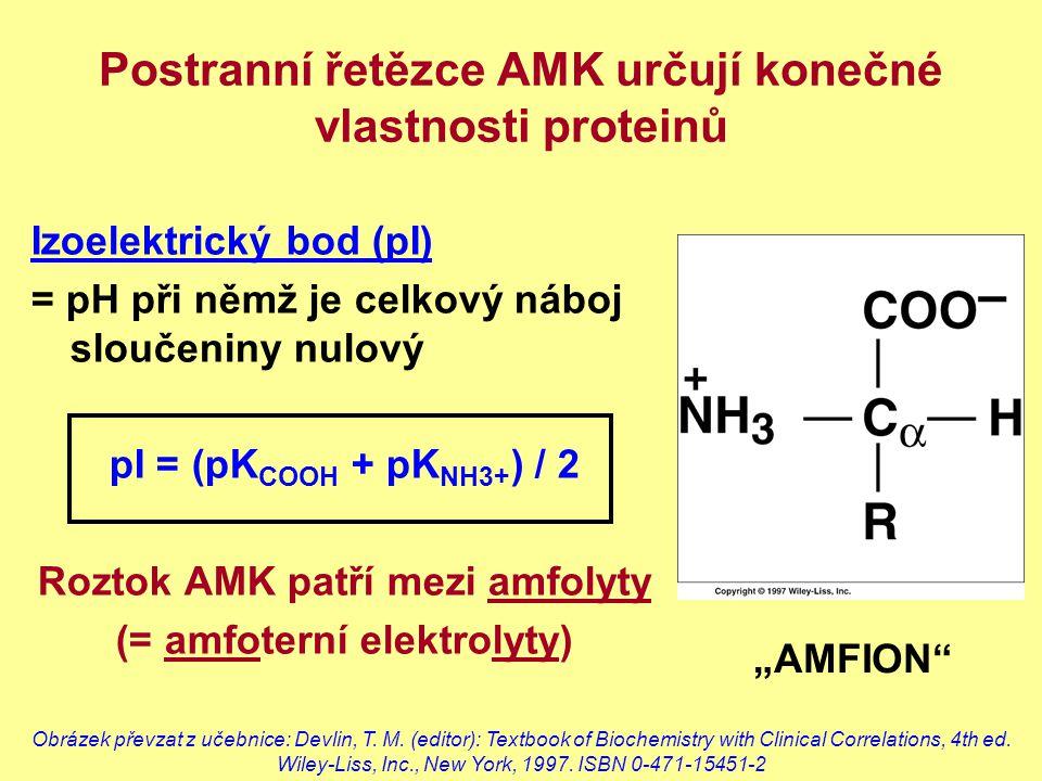 Postranní řetězce AMK určují konečné vlastnosti proteinů Izoelektrický bod (pI) = pH při němž je celkový náboj sloučeniny nulový pI = (pK COOH + pK NH