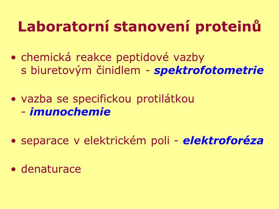 Laboratorní stanovení proteinů chemická reakce peptidové vazby s biuretovým činidlem - spektrofotometrie vazba se specifickou protilátkou - imunochemi