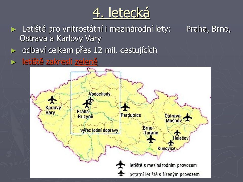 4. letecká ► Letiště pro vnitrostátní i mezinárodní lety: Praha, Brno, Ostrava a Karlovy Vary ► odbaví celkem přes 12 mil. cestujících ► letiště zakre
