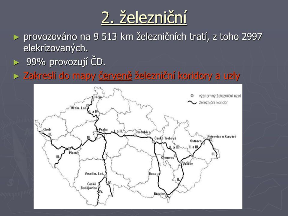 2. železniční ► provozováno na 9 513 km železničních tratí, z toho 2997 elekrizovaných. ► 99% provozují ČD. ► Zakresli do mapy červeně železniční kori