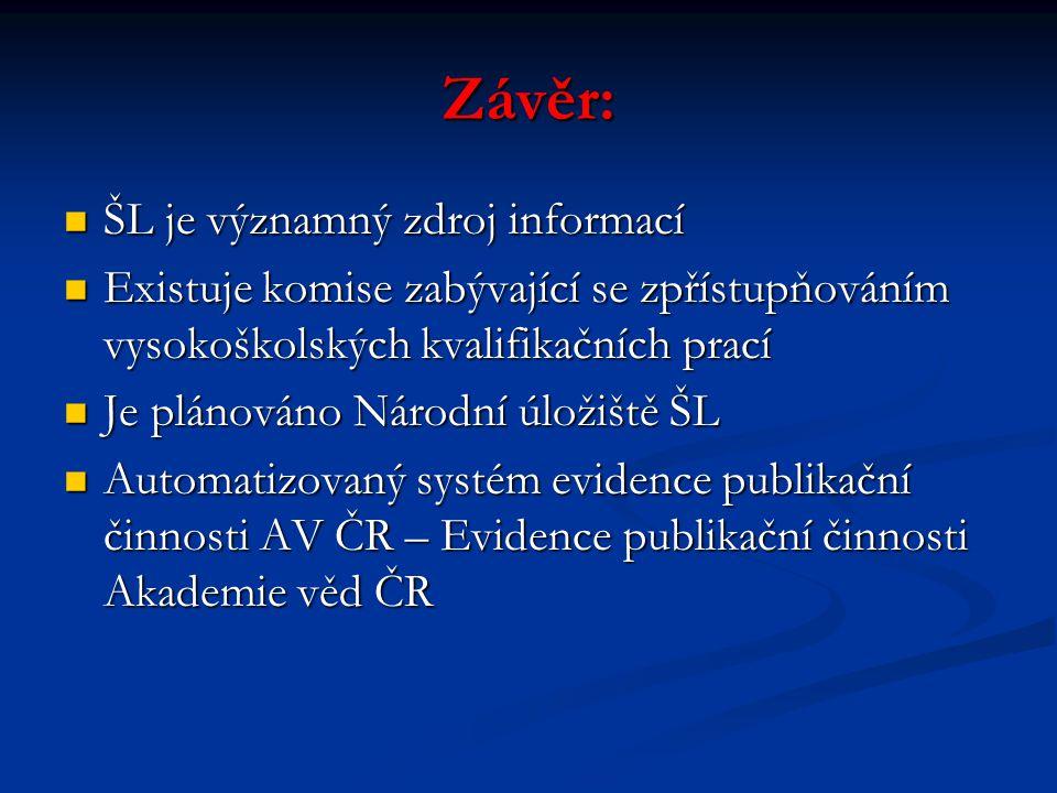 Závěr: ŠL je významný zdroj informací ŠL je významný zdroj informací Existuje komise zabývající se zpřístupňováním vysokoškolských kvalifikačních prac