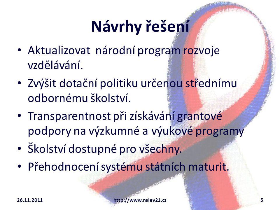 Aktualizovat národní program rozvoje vzdělávání.