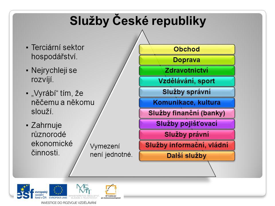 """Služby České republiky ▪Terciární sektor hospodářství. ▪Nejrychleji se rozvíjí. ▪""""Vyrábí"""" tím, že něčemu a někomu slouží. ▪Zahrnuje různorodé ekonomic"""