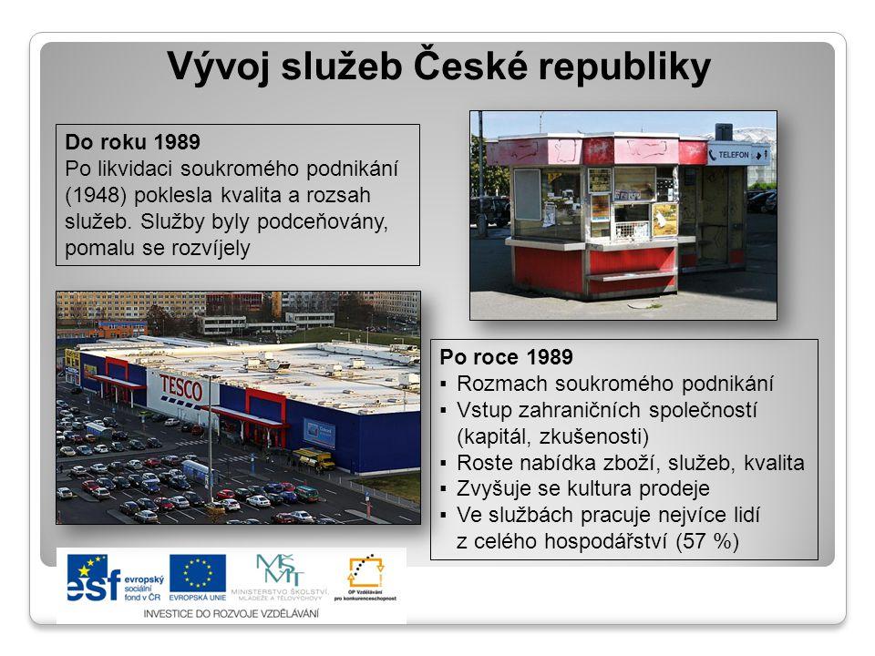 Vývoj služeb České republiky Do roku 1989 Po likvidaci soukromého podnikání (1948) poklesla kvalita a rozsah služeb. Služby byly podceňovány, pomalu s