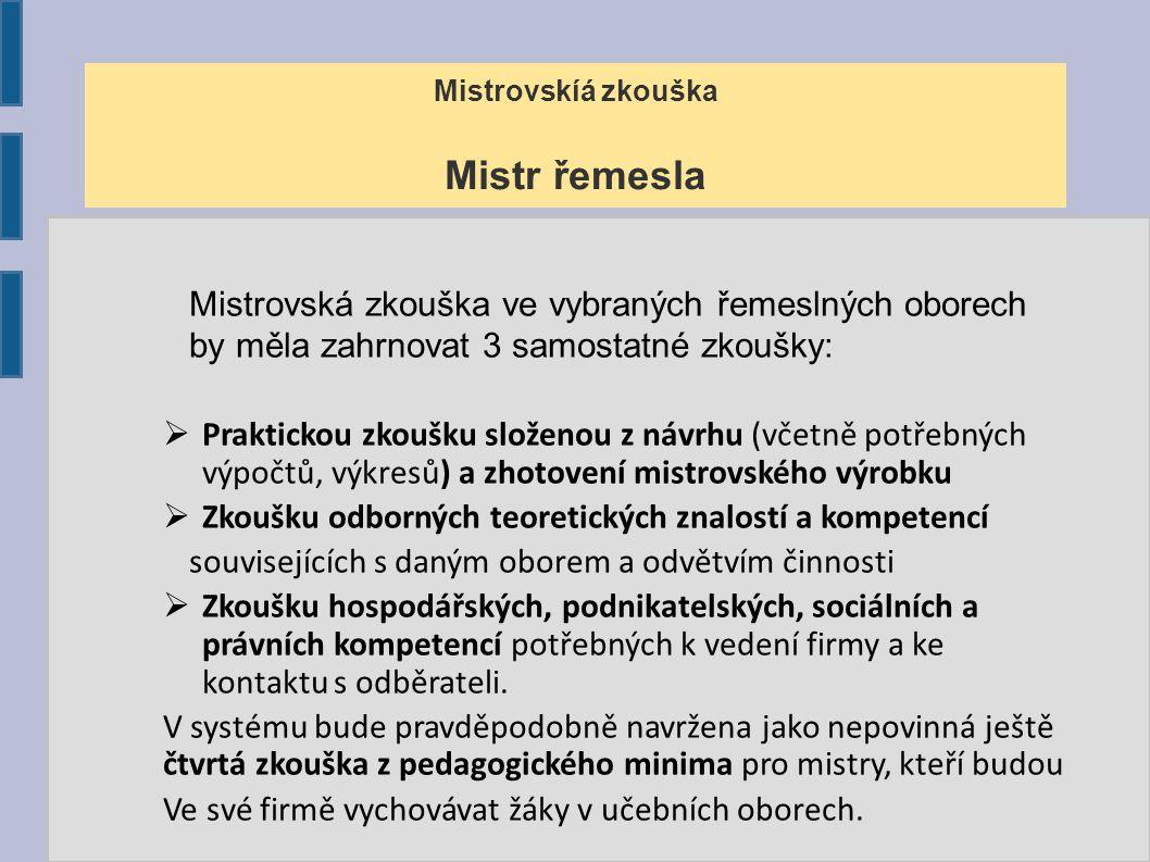 Mistrovská zkouška Provozní mistr (manažer) Zkouška provozních mistrů bude mít dva moduly.