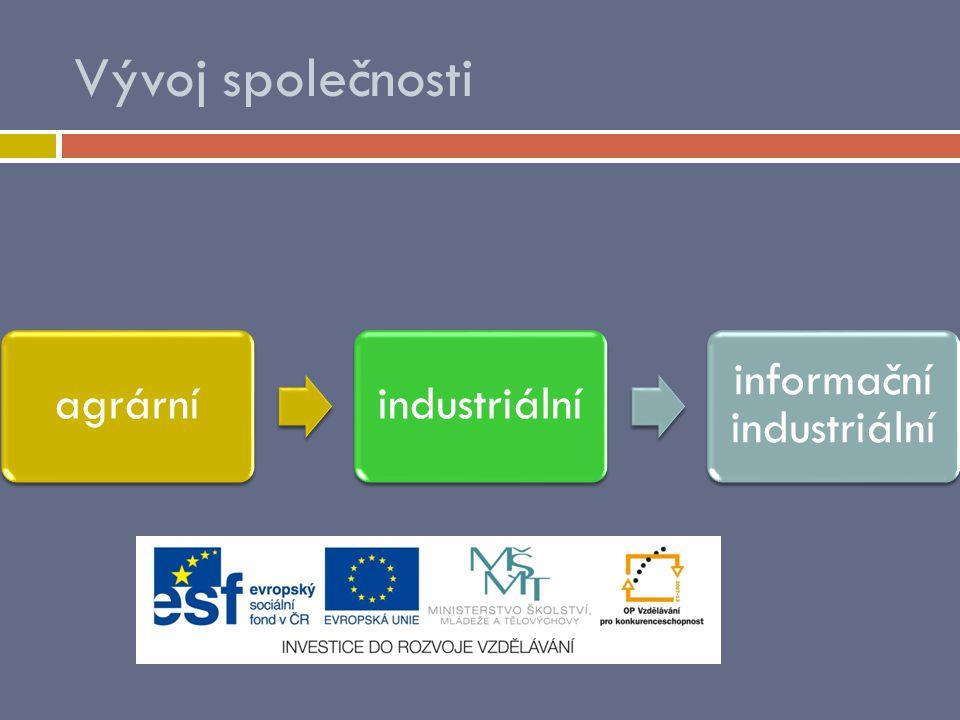Vývoj společnosti agrárníindustriální informační industriální