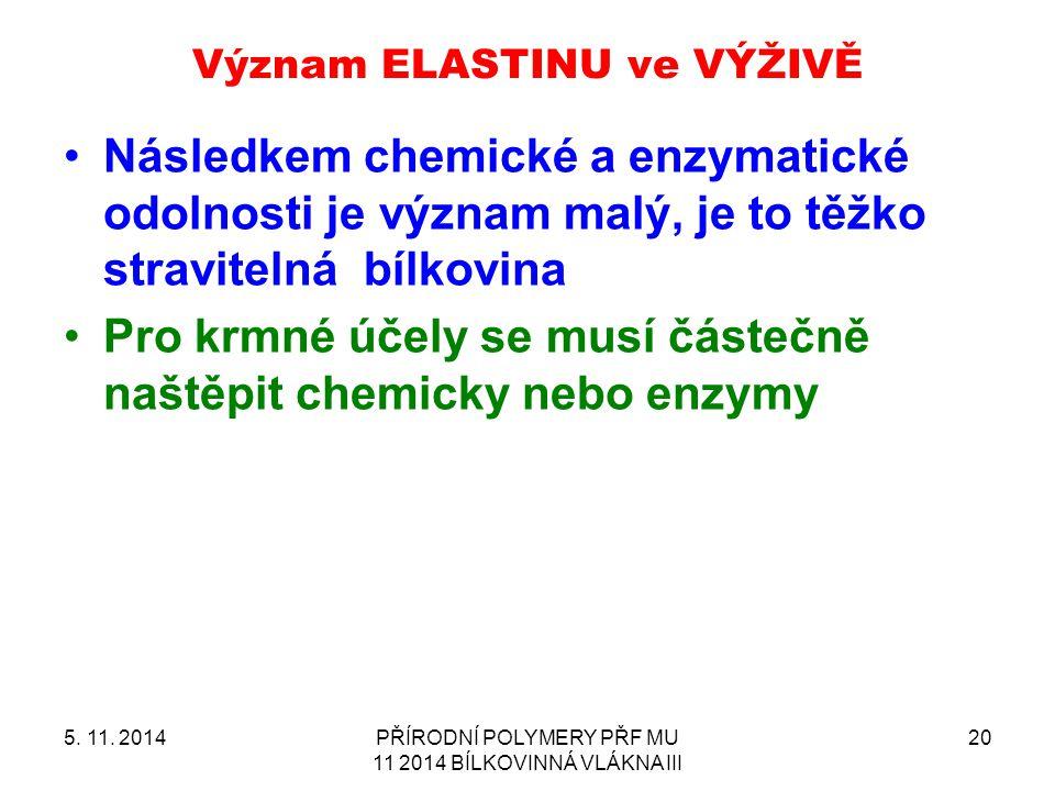 Význam ELASTINU ve VÝŽIVĚ 5. 11. 2014PŘÍRODNÍ POLYMERY PŘF MU 11 2014 BÍLKOVINNÁ VLÁKNA III 20 Následkem chemické a enzymatické odolnosti je význam ma