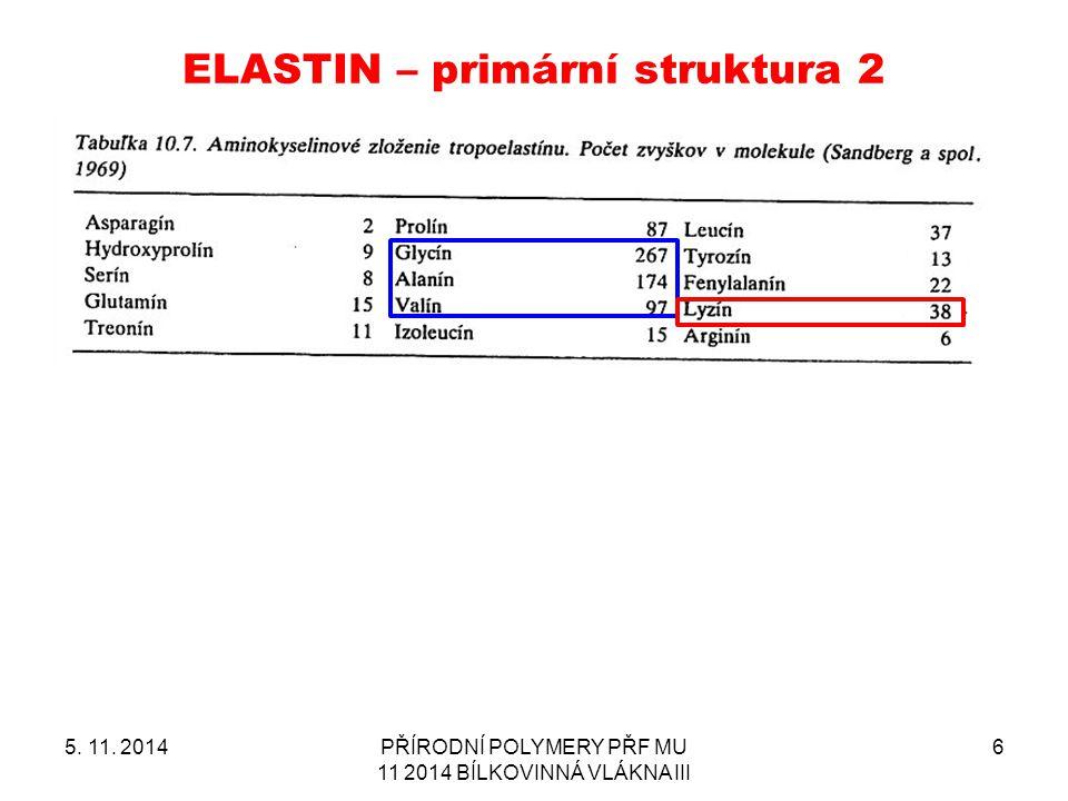 ELASTIN – primární struktura 2 5. 11. 2014PŘÍRODNÍ POLYMERY PŘF MU 11 2014 BÍLKOVINNÁ VLÁKNA III 6