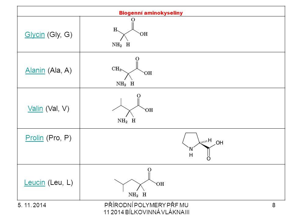 5. 11. 2014PŘÍRODNÍ POLYMERY PŘF MU 11 2014 BÍLKOVINNÁ VLÁKNA III 8 Biogenní aminokyseliny GlycinGlycin (Gly, G) AlaninAlanin (Ala, A) ValinValin (Val