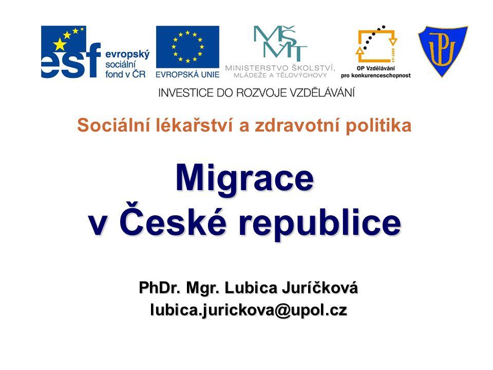 Sociální lékařství a zdravotní politikaMigrace v České republice PhDr. Mgr. Lubica Juríčková lubica.jurickova@upol.cz