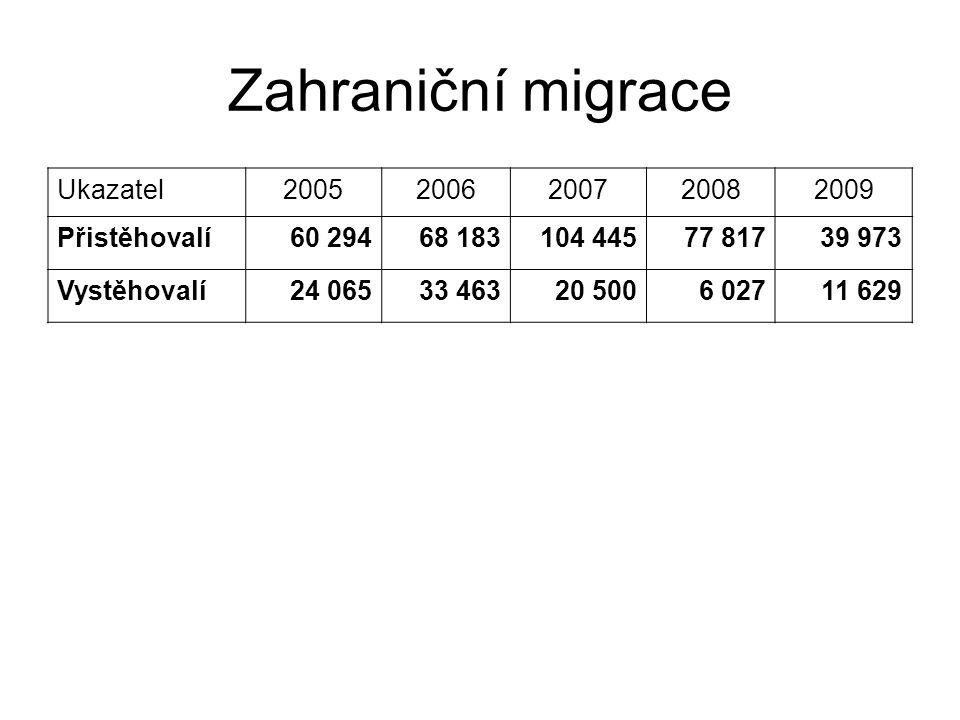 Zahraniční migrace Ukazatel20052006200720082009 Přistěhovalí60 29468 183104 44577 81739 973 Vystěhovalí24 06533 46320 5006 02711 629