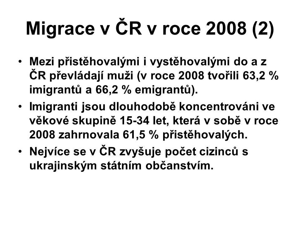 Migrace v ČR v roce 2008 (2) Mezi přistěhovalými i vystěhovalými do a z ČR převládají muži (v roce 2008 tvořili 63,2 % imigrantů a 66,2 % emigrantů).