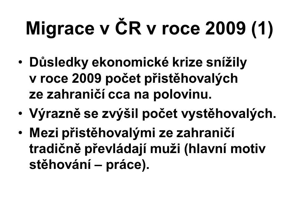Migrace v ČR v roce 2009 (1) Důsledky ekonomické krize snížily v roce 2009 počet přistěhovalých ze zahraničí cca na polovinu. Výrazně se zvýšil počet