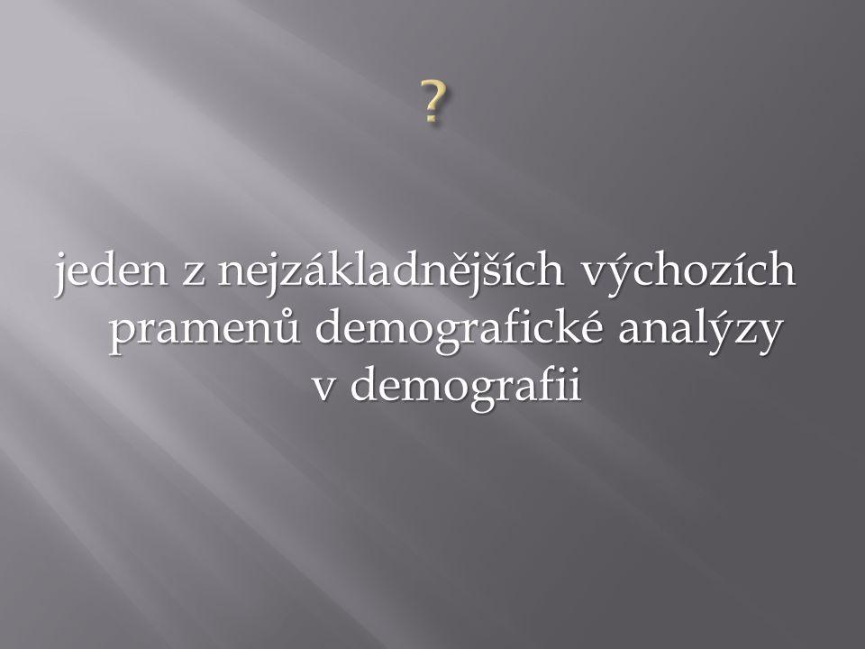 jeden z nejzákladnějších výchozích pramenů demografické analýzy v demografii