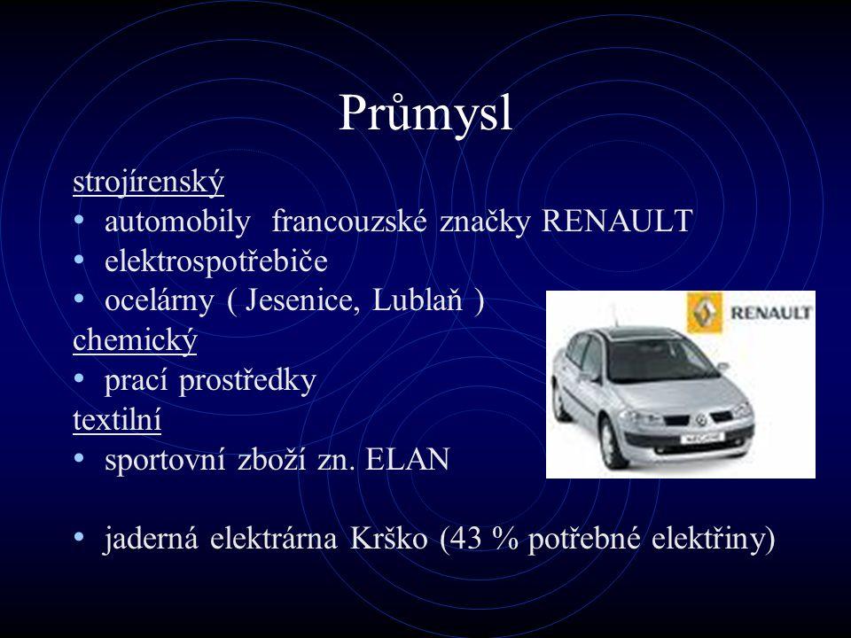 Průmysl strojírenský automobily francouzské značky RENAULT elektrospotřebiče ocelárny ( Jesenice, Lublaň ) chemický prací prostředky textilní sportovn