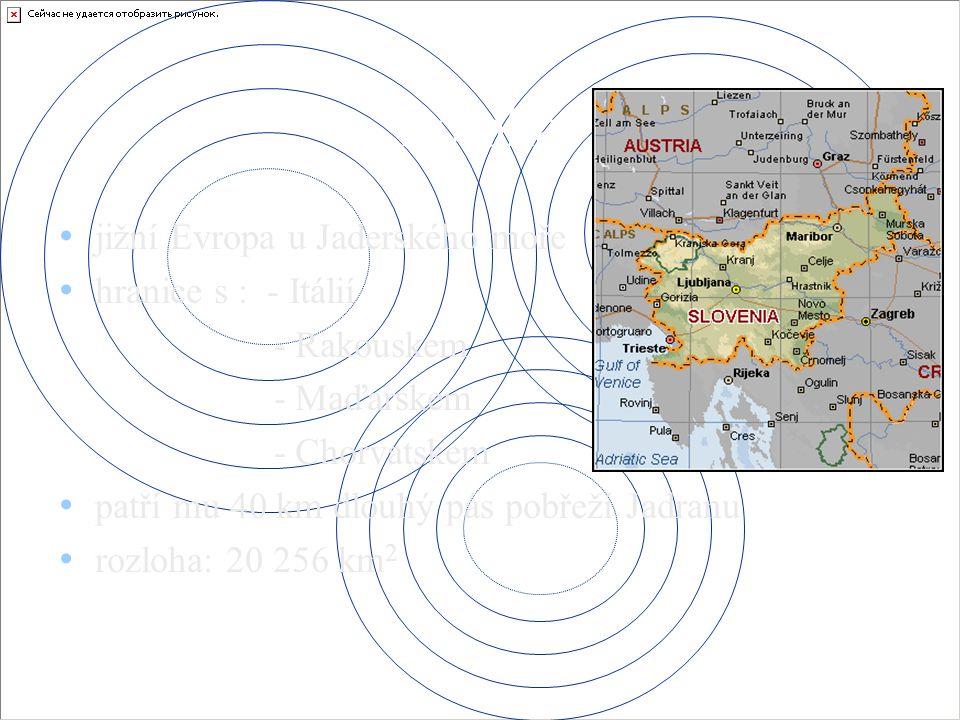 Poloha jižní Evropa u Jaderského moře hranice s : - Itálií - Rakouskem - Maďarskem - Chorvatskem patří mu 40 km dlouhý pás pobřeží Jadranu rozloha: 20