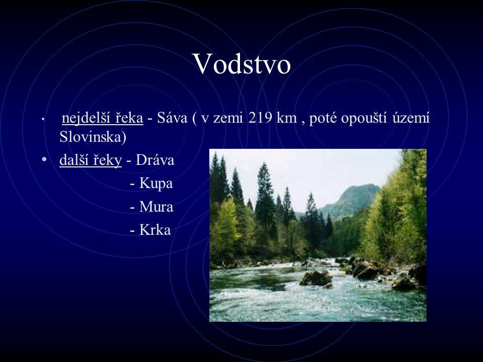 Vodstvo nejdelší řeka - Sáva ( v zemi 219 km, poté opouští území Slovinska) další řeky - Dráva - Kupa - Mura - Krka