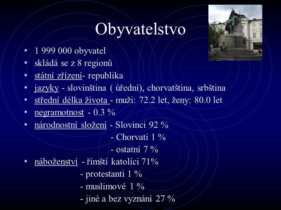 Obyvatelstvo 1 999 000 obyvatel skládá se z 8 regionů státní zřízení- republika jazyky - slovinština ( úřední), chorvatština, srbština střední délka ž