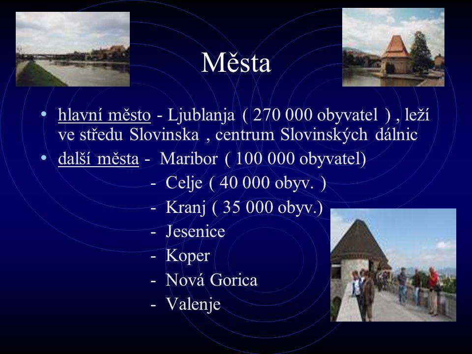 Města hlavní město - Ljublanja ( 270 000 obyvatel ), leží ve středu Slovinska, centrum Slovinských dálnic další města - Maribor ( 100 000 obyvatel) -