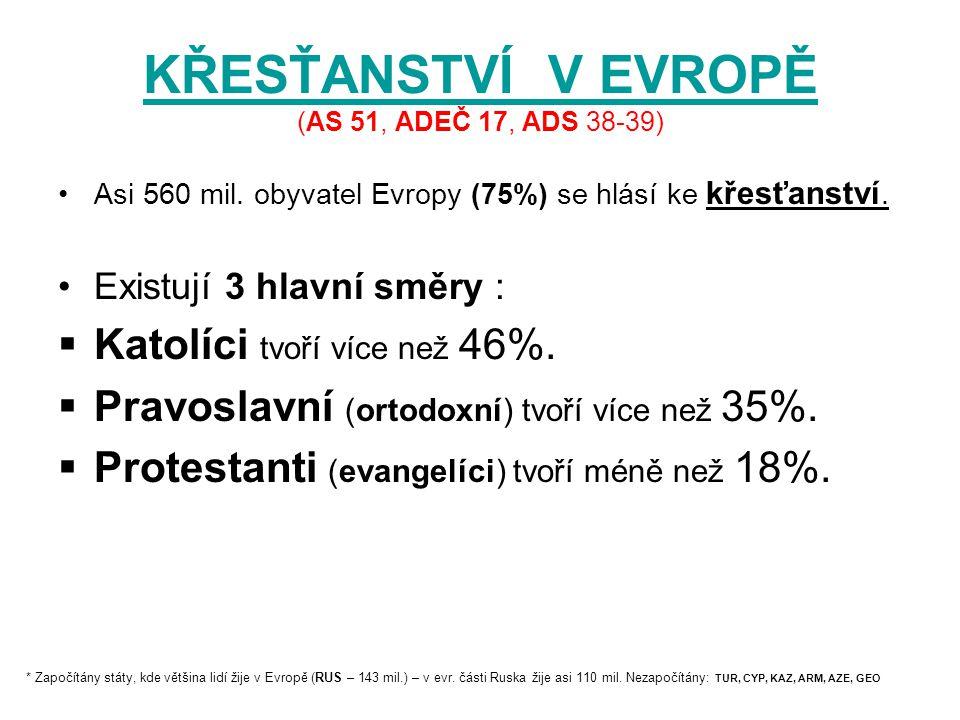 ŘÍMSKOKATOLICKÁ CÍRKEV ŘÍMSKOKATOLICKÁ CÍRKEV (AS 51, ADEČ 17, ADS 38-39) Nejvíce zastoupena v Evropě i na světě.