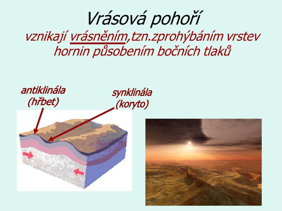 Vrásová pohoří vznikají vrásněním,tzn.zprohýbáním vrstev hornin působením bočních tlaků