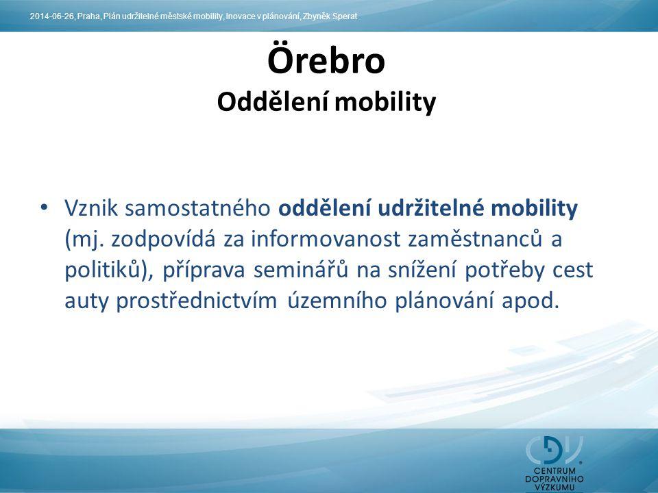 Vznik samostatného oddělení udržitelné mobility (mj. zodpovídá za informovanost zaměstnanců a politiků), příprava seminářů na snížení potřeby cest aut